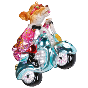Christbaumschmuck Hund auf Motorrad