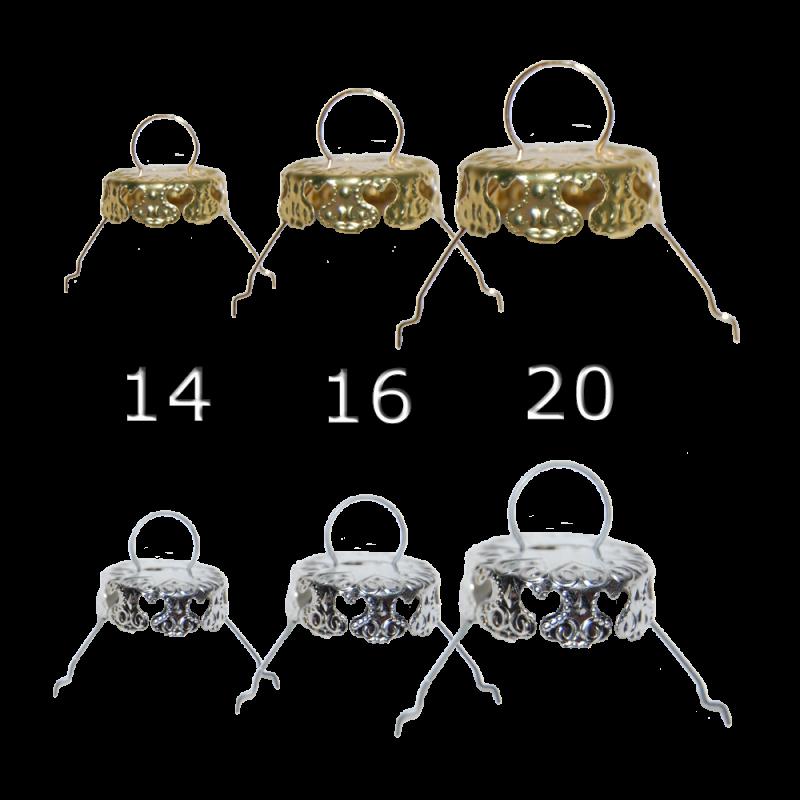 Aufhänger Für Christbaumkugeln.10 Hütchen Kronen Gold Silber Für Christbaumkugeln