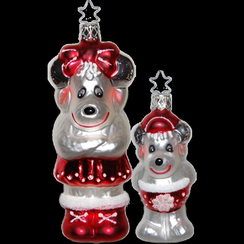 Elch Mutter mit Kind Nordic Family Inge-Glas® Weihnachtsschmuck
