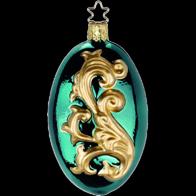 Damask 10,5cm blaugrün Inge-Glas® Old Masterpieces Weihnachtsschmuck