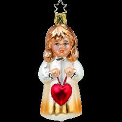 Engelskind mit einem Herz für Dich 11cm biblischer Inge-Glas Weihnachtsschmuck