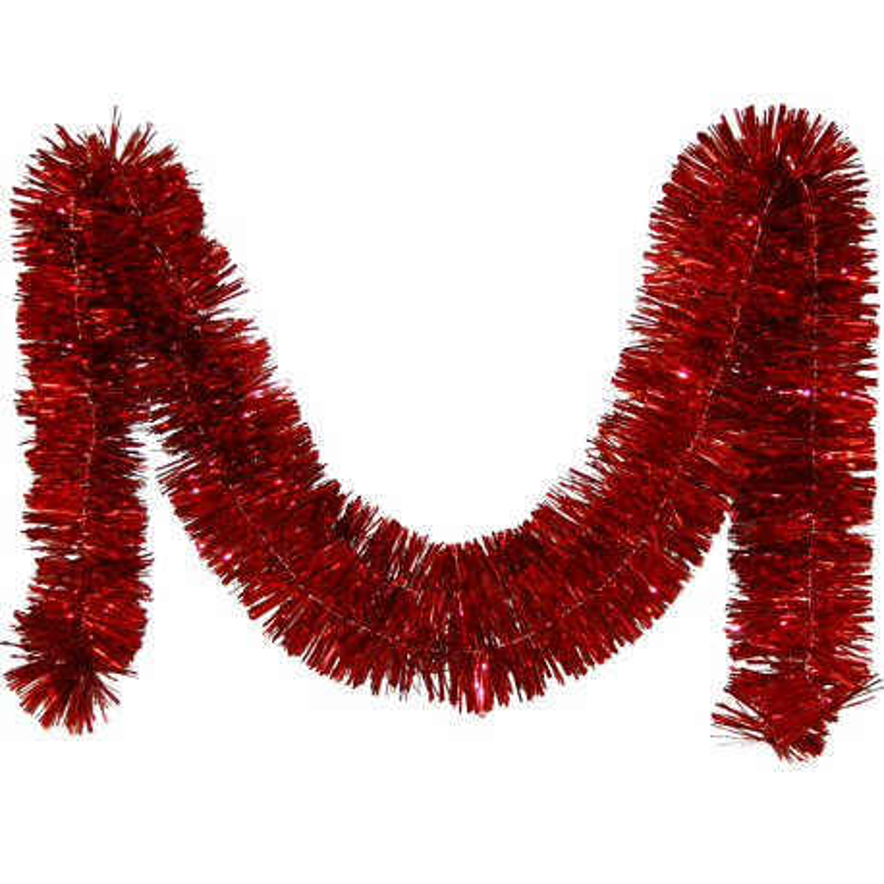 Girlande, Lamettagirlande rot glänzend Ø 7,5cm / 270cm