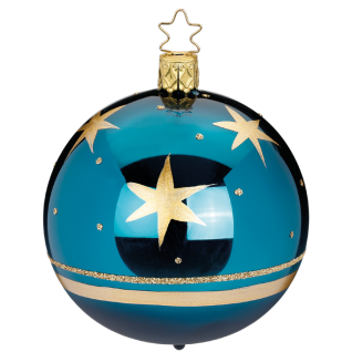 Christbaumkugel türkisblau Ø 8cm Winter Star Inge-Glas® Manufaktur