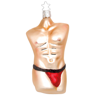 Cool Men Body, Christmas Men rot Inge-Glas® Weihnachtsschmuck 11,5cm