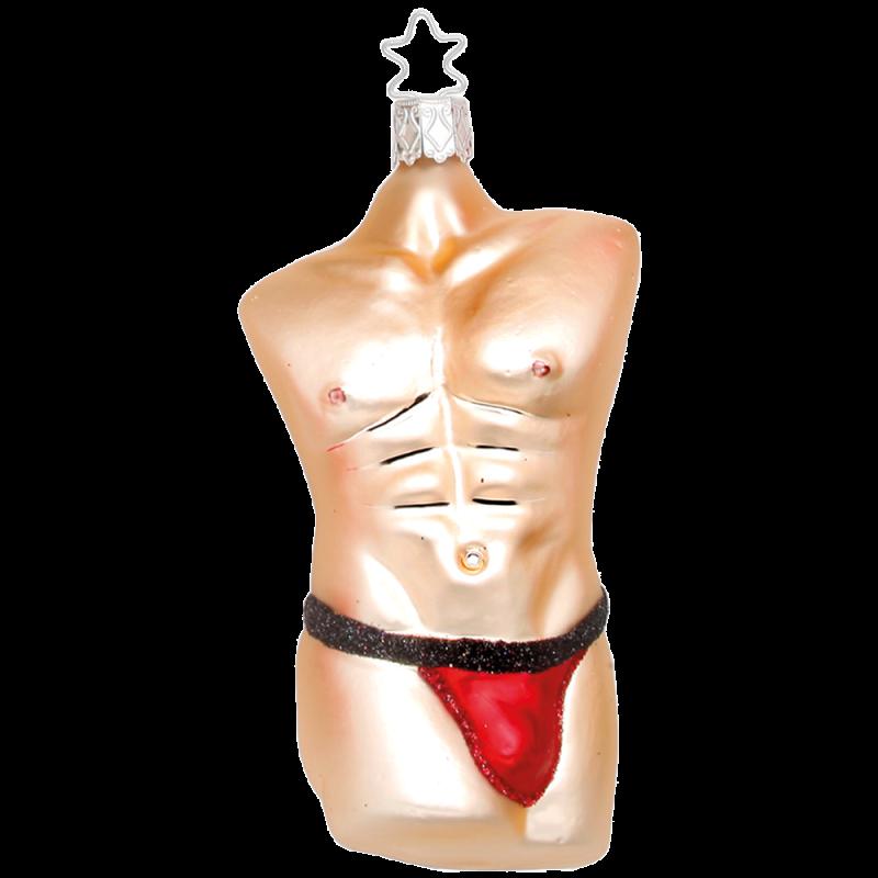 Cool Men Body, Christmas Men rot Inge-Glas® Weihnachtsschmuck 11,5cm