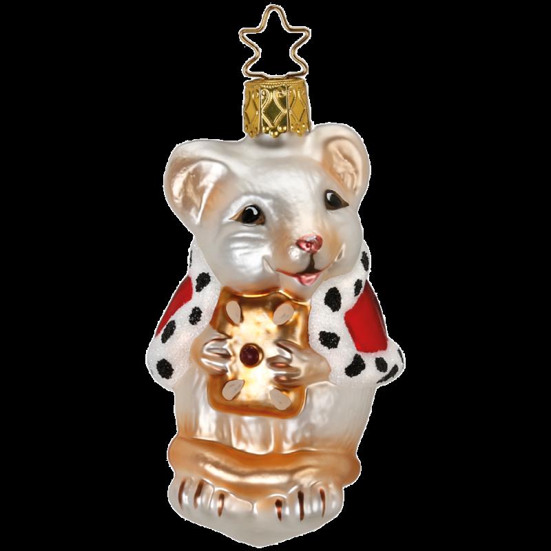 Weihnachtsmaus weiß Inge-Glas® Weihnachtsschmuck 8,5cm