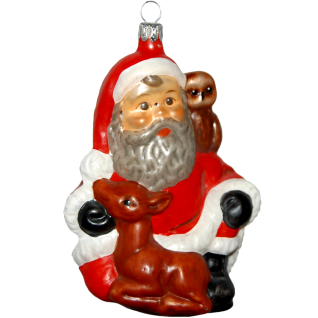 Santa mit Reh matt 12cm Inge-Glas® Christbaumschmuck Old Christmas Collection