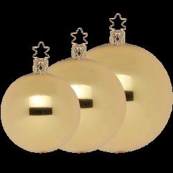 Christbaumkugeln gold metallic Ø 6 - Ø 15cm Inge-Glas® Manufaktur Weihnachtskugeln