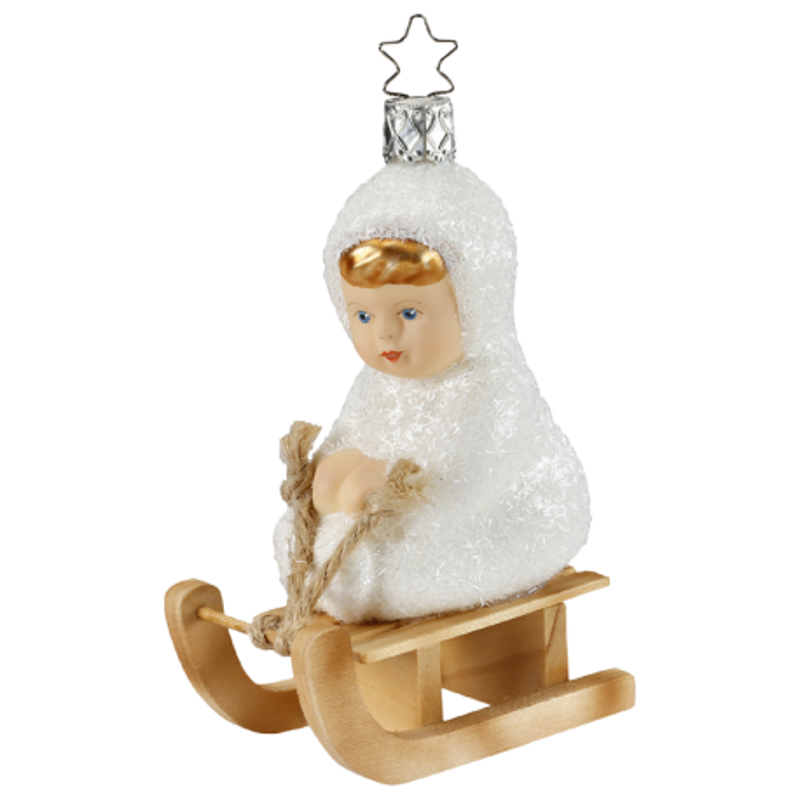 Auf dem Schlitten 10,5cm Schneekinder Inge-Glas® Christbaumschmuck
