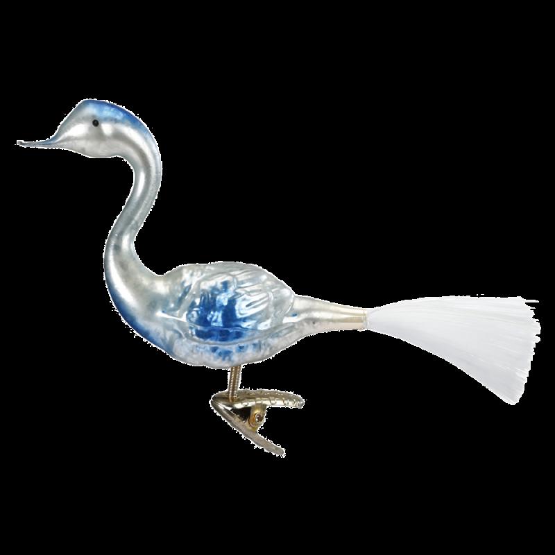 Blauer Schwan 10,5cm Nostalgia Inge-Glas® Manufaktur Christbaumschmuck