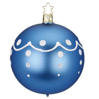 Christbaumkugel Santa's Favorites Ø 8cm denim blau matt Weihnachtsschmuck Inge-Glas®