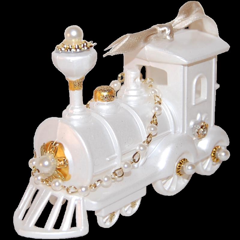Weihnachtslok, Eisenbahn 12,5cm cremeweiß Eliot Raffit Weihnachtsschmuck