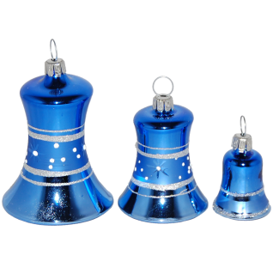 Glocke blau glänzend Thüringer Glas Weihnachtsschmuck