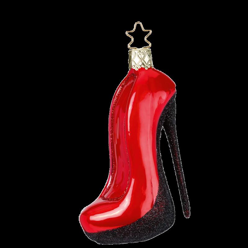 High Heel glänzend rot 9,5cm Inge-Glas® Weihnachtsschmuck