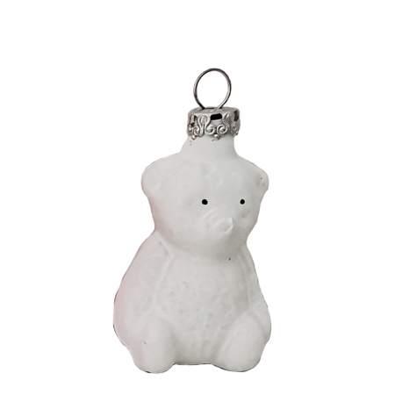 Teddybär 6cm glänzend/matt Thüringer Miniatur Weihnachtsschmuck Lauscha Glas