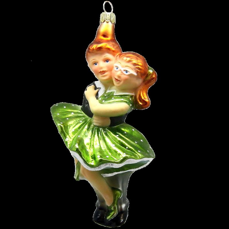 Figuren Tanzpaar Petticoat Grün 15cm Thüringer Glas Weihnachtsschmuck