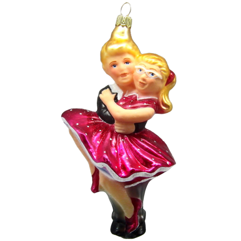 Figuren Tanzpaar Petticoat Pink 15cm Thüringer Glas Weihnachtsschmuck