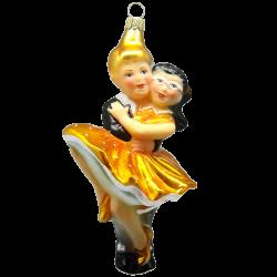 Figuren Tanzpaar Petticoat Mango Gelb 15cm Thüringer Glas Weihnachtsschmuck