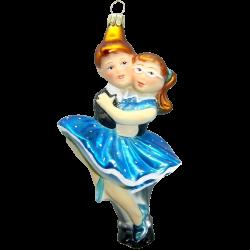 Figuren Tanzpaar Petticoat Blau 15cm Thüringer Glas Weihnachtsschmuck