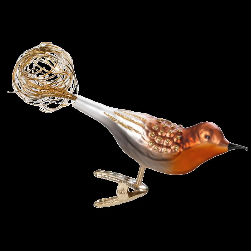Prachtfink 9,5cm Vogel Inge-Glas® Weihnachtsschmuck