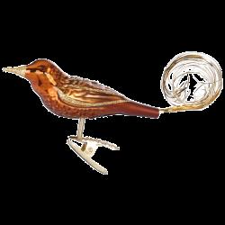 Goldschwanz 10cm, haselnuss, Vogel Inge-Glas® Weihnachtsschmuck