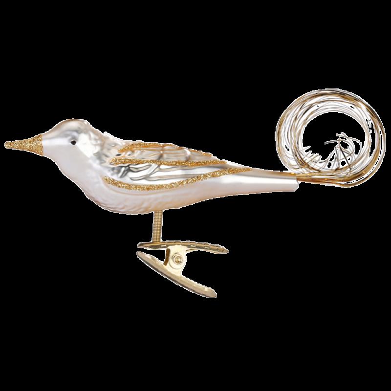 Goldschwanz 10cm, champagner, Vogel Inge-Glas® Weihnachtsschmuck