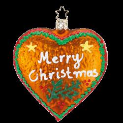 Merry Christmas, Lebkuchenherz aus Glas Inge-Glas® Weihnachtsschmuck 10,5cm