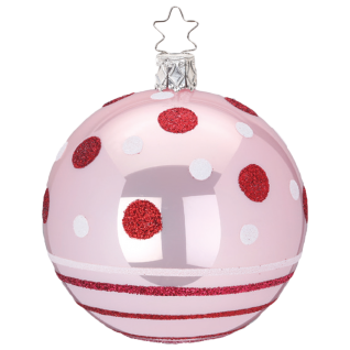 Christbaumkugel Dots and Stripes Ø 8cm light rose opal Inge-Glas® Christbaumschmuck