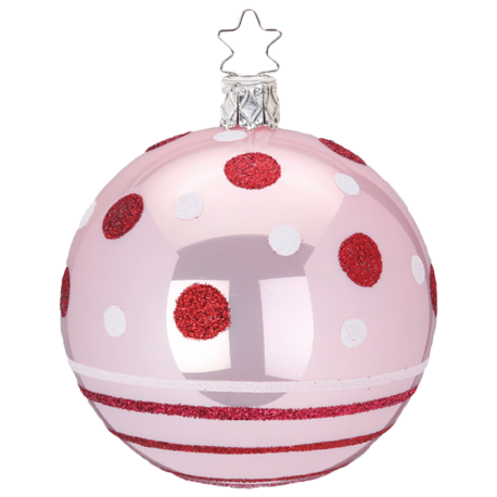 Dots and Stripes Ø 8cm light rose opal Inge-Glas® Christbaumschmuck
