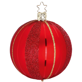 Christbaumkugel Easy Stripes Ø 8-10cm rot matt Inge-Glas® Christbaumschmuck
