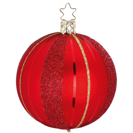 Easy Stripes Ø 8-10cm rot matt Inge-Glas® Christbaumschmuck