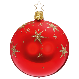 Christbaumkugel Night Sky Ø 8-10cm rot glanz Inge-Glas® Christbaumschmuck