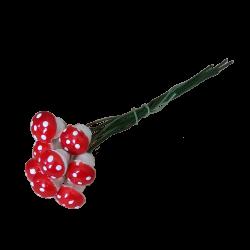 Wattepilze 10 Fliegenpilze Ø 12mm mit Steckdraht Schatzhauser Weihnachtsschmuck