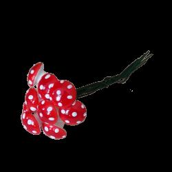 Wattepilze 10 Fliegenpilze Ø 14mm mit Steckdraht Schatzhauser Weihnachtsschmuck