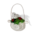 Vogelrad mit Vogel 14 x 9cm Lauscha Glas Schatzhauser Weihnachtsschmuck