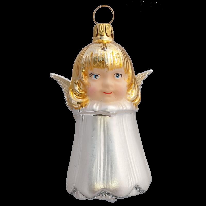 Glocke, Engelsglöckchen 9cm silberweiß Schatzhauser Weihnachtsschmuck