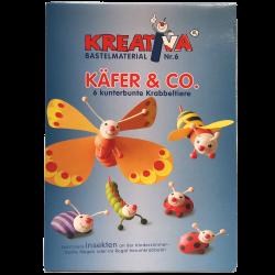 Käfer & Co. Bastelset für 6 Krabbeltiere, Bastelmaterial Zellwolle