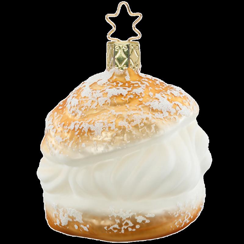 Windbeutel 7,5cm french coffee Inge-Glas® Schmuck Weihnachtsschmuck
