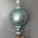 Ballon mit Engels Oblate eisgrün ca. 70cm / Ø 14cm Weihnachtsschmuck Lauschaer Glas