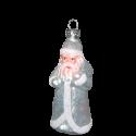 Weihnachtsmann silber weiß 9cm Thüringer Glas Weihnachtsschmuck