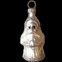 Miniatur Weihnachtsmann silberweiß matt silber 6cm Thüringer Glas Weihnachtsschmuck