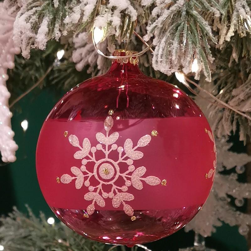Weihnachtskugel kirschblüte Ø8cm Thüringer Glas Weihnachtsschmuck