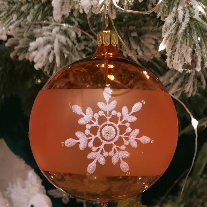 Weihnachtskugel orange transparent Ø 8cm Thüringer Glas Weihnachtsschmuck