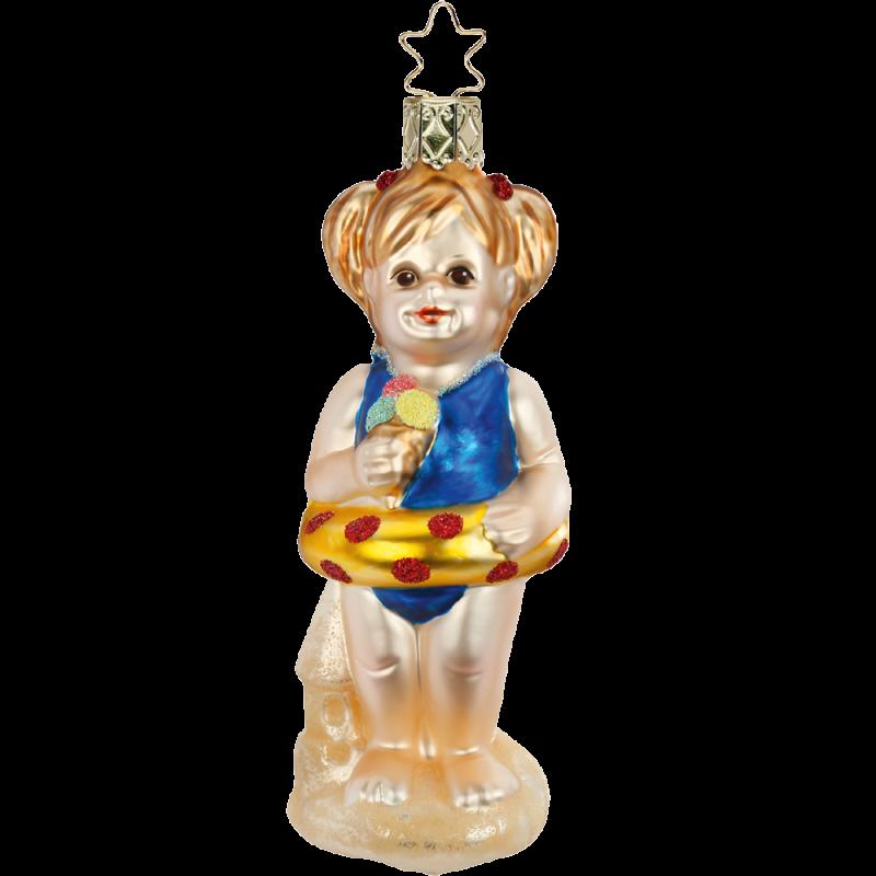 Sommer, Sonne, Sonnenschein - Mädchen 12,5cm Inge-Glas® Christbaumschmuck