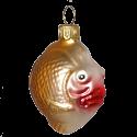 Kugelfisch 5,5cm Thüringer lila/gold Glas Schatzhauser Weihnachtsschmuck