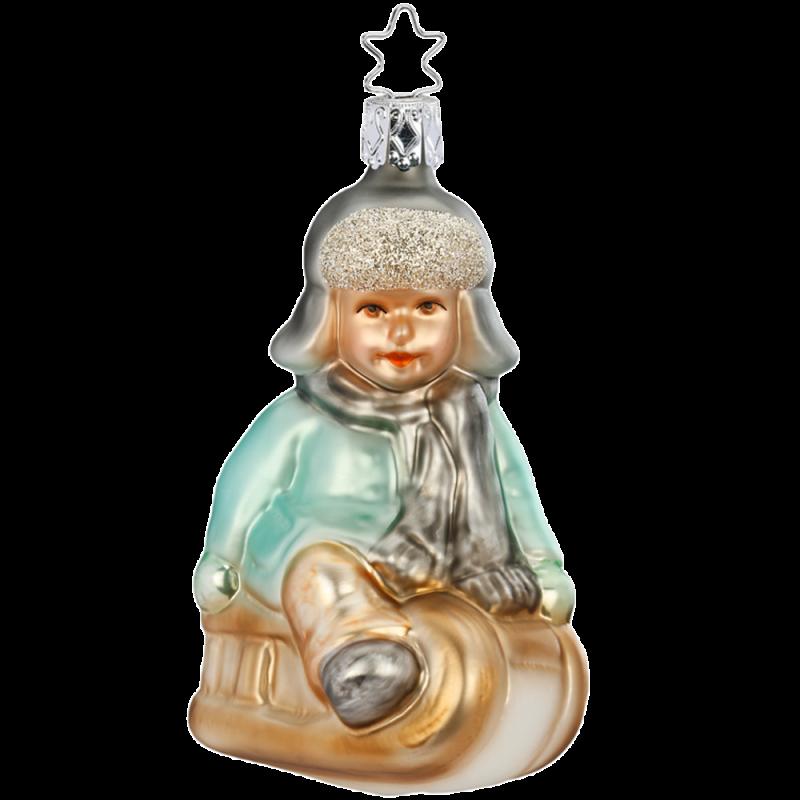 Auf zum Rodeln 10,5cm Inge-Glas Manufaktur Silent Home Weihnachtsschmuck
