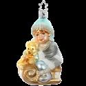 Teddys Schlittenfahrt 10cm Inge-Glas Manufaktur Silent Home Weihnachtsschmuck