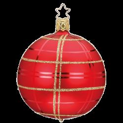 Christbaumkugel Dressy Check Ø 8 / 10cm rot matt Weihnachtsschmuck Inge-Glas®