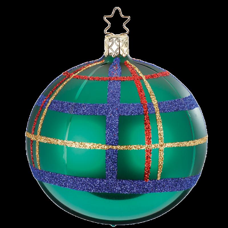 Christbaumkugel Squared waldgrün glanz Ø 8 / 10cm Inge-Glas Weihnachtsschmuck