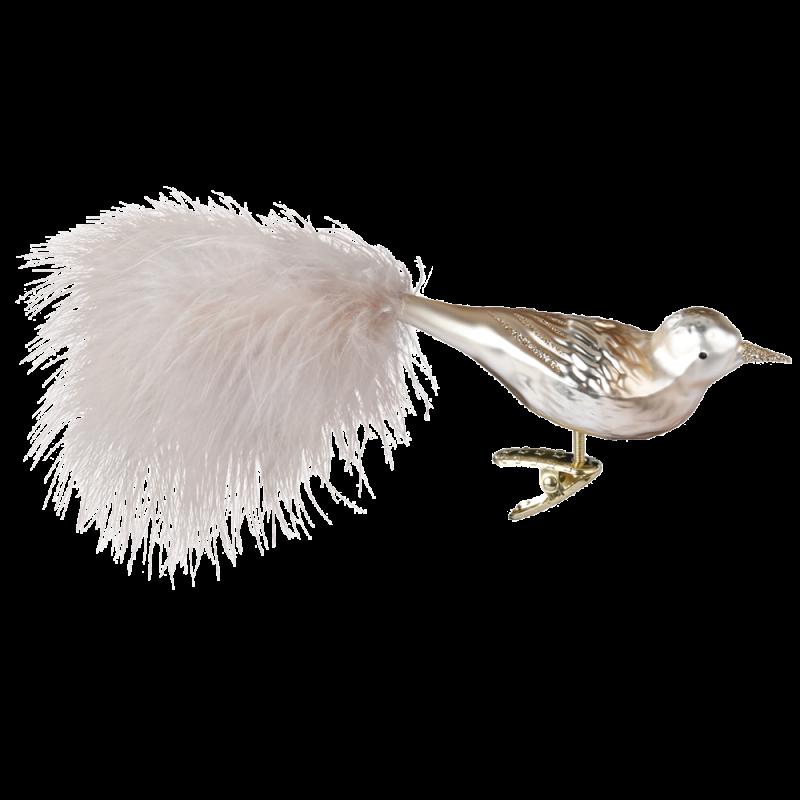 Champagne Bird 11cm Vogel Inge-Glas® Weihnachtsschmuck